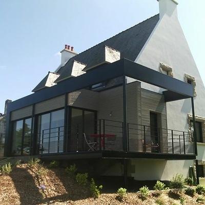 Agrandissement ossature bois et métal - terrasse suspendue