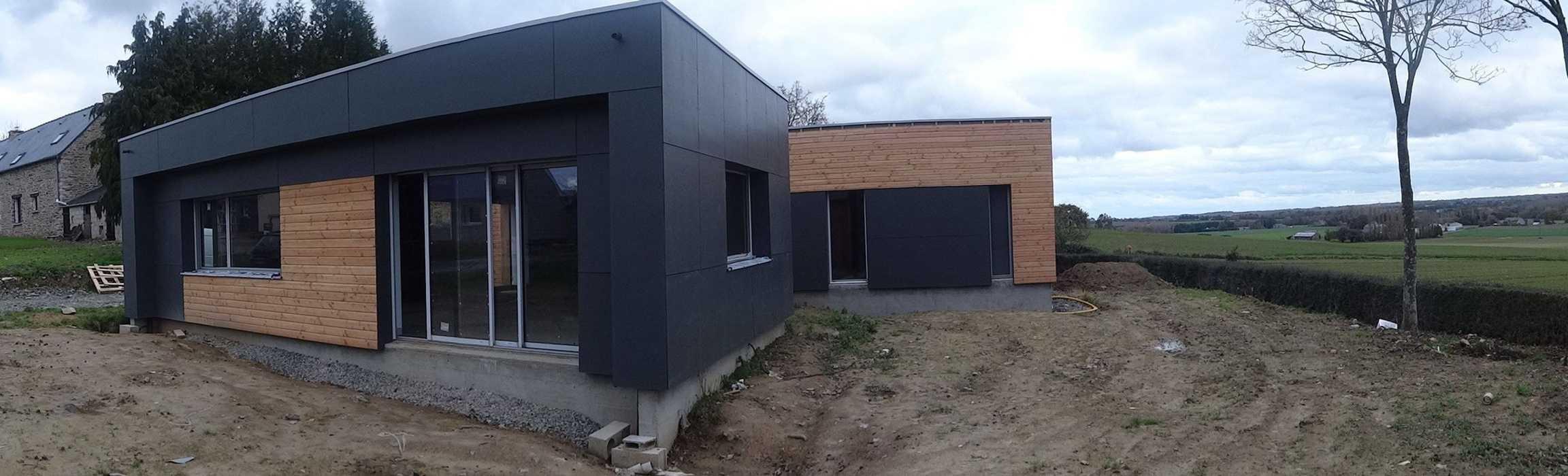 Maison ossature bois toit plat - Hénanbihen 0