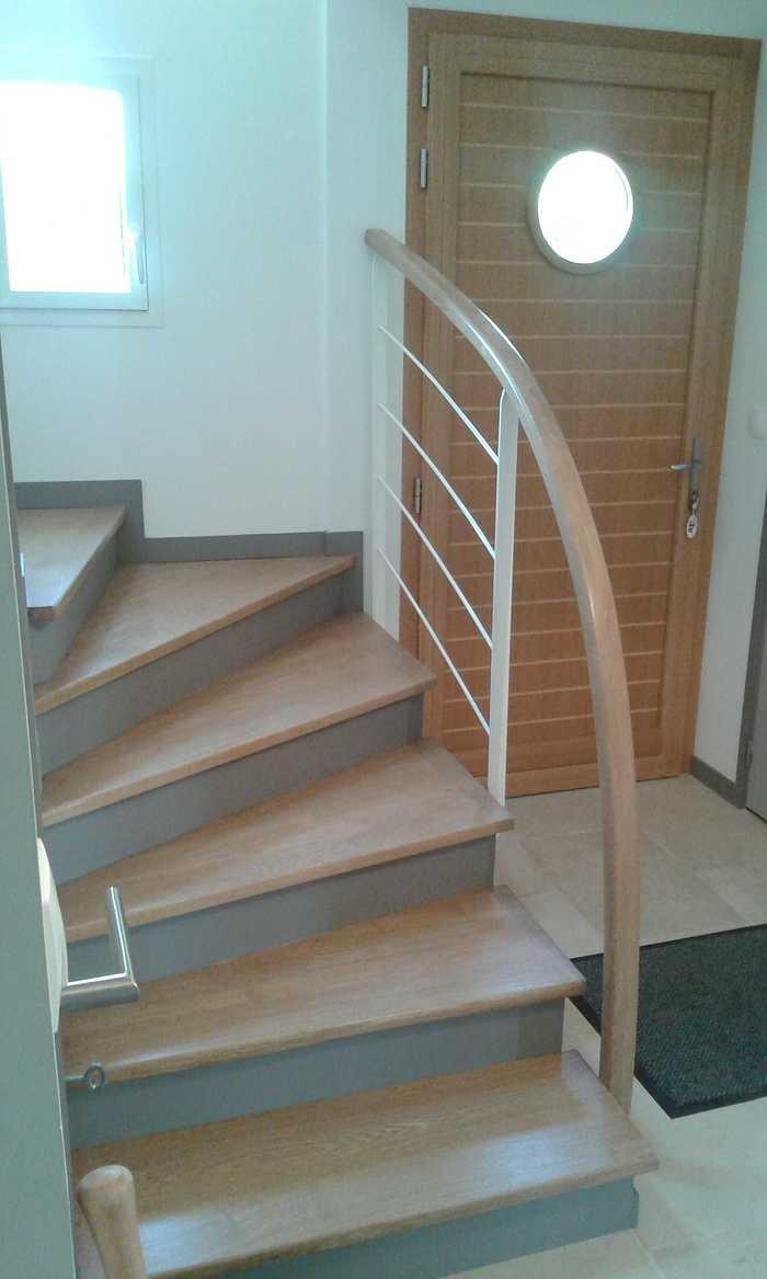 Marches chêne sur escalier béton e5-2